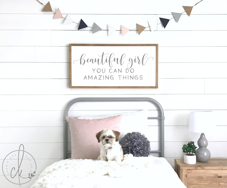 Girl\'s bedroom sign | beautiful girl you can do amazing things sign | girls  bedroom decor | wall decor girl | beautiful girl sign