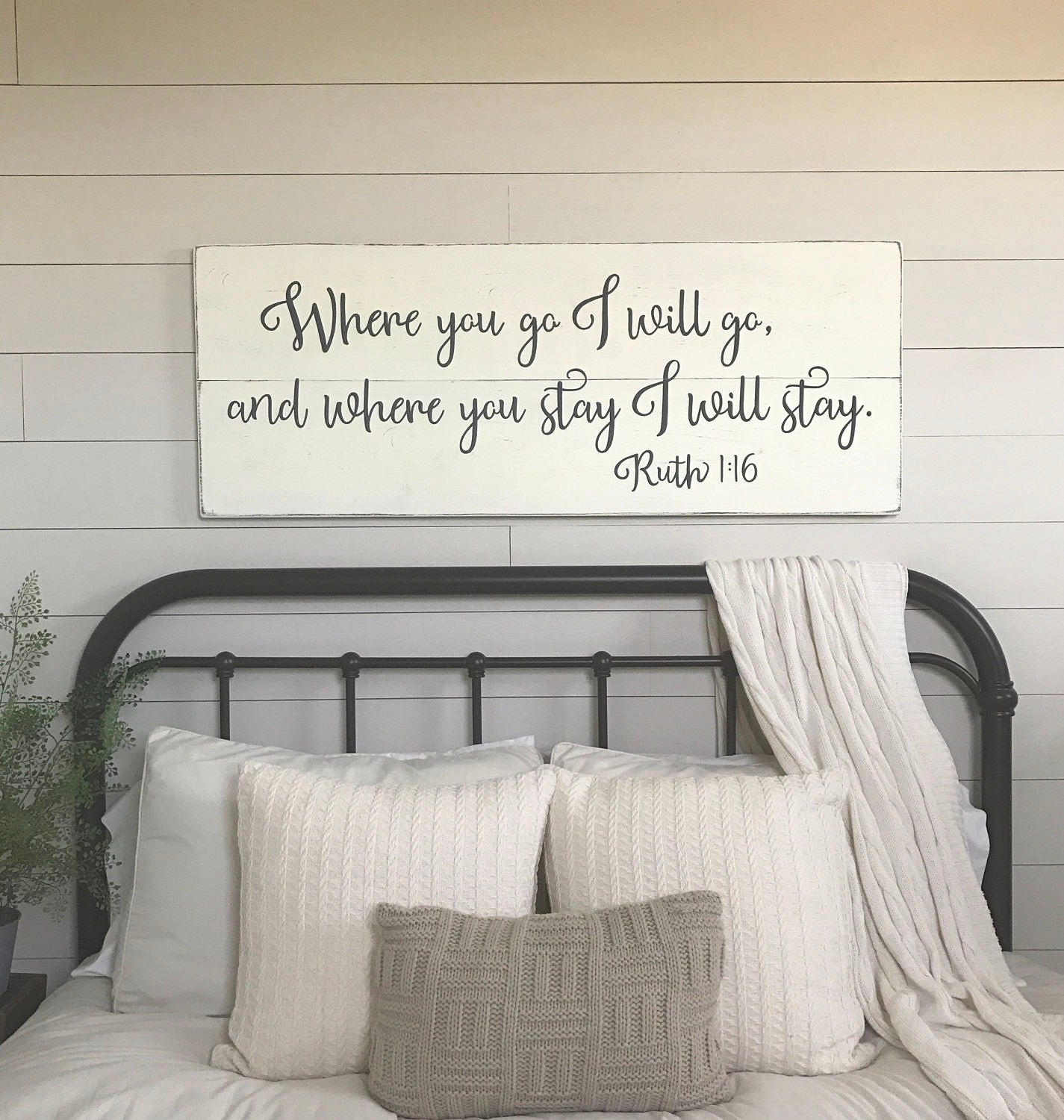 Bedroom wall decor where you go i will go wood signs etsy - Bedroom wall decor ideas ...