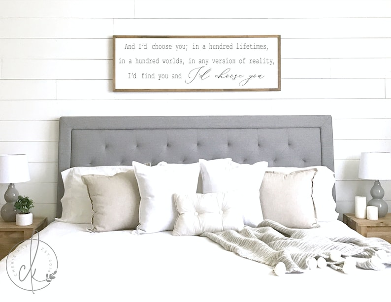 Bedroom Decor I D Choose You Sign Farmhouse Bedroom Etsy