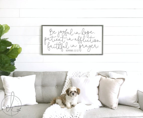 Scripture Sign Romans 12 12 Living Room Wall Decor Be Etsy