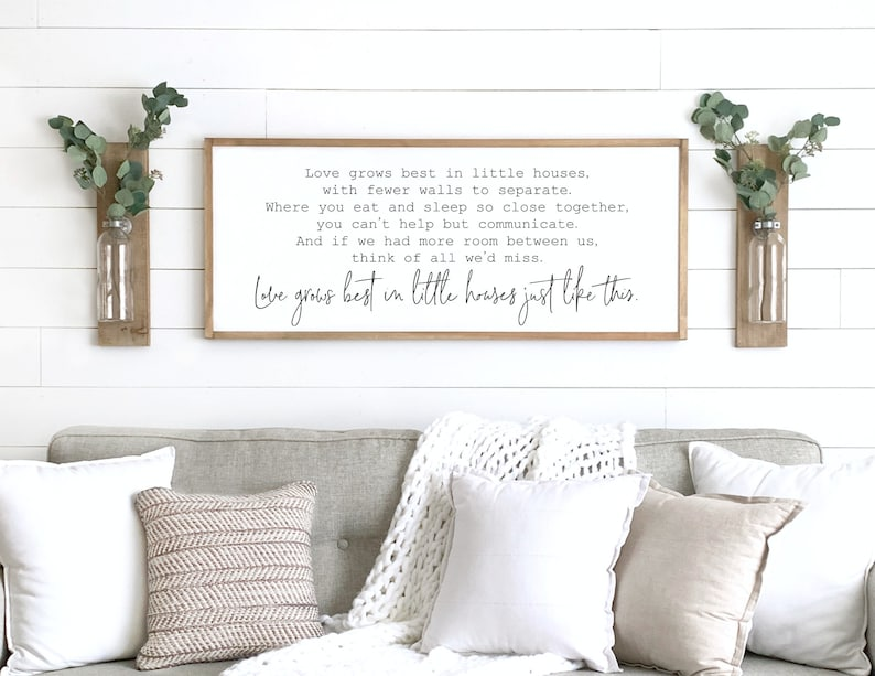 home decor sign  love grows best in little houses sign  image 0