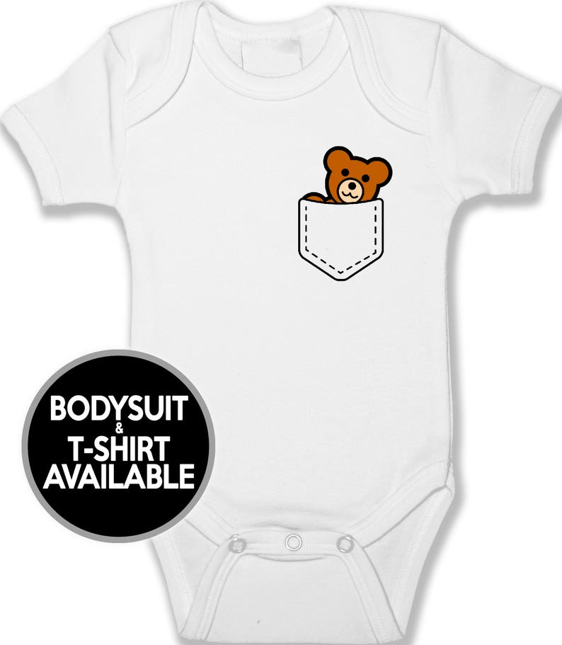 Toddler Tshirt Infant /& Baby Clothing Unisex Baby Clothes Funny Baby Teddy Bear Printed Pocket Baby Bodysuit and T-Shirt