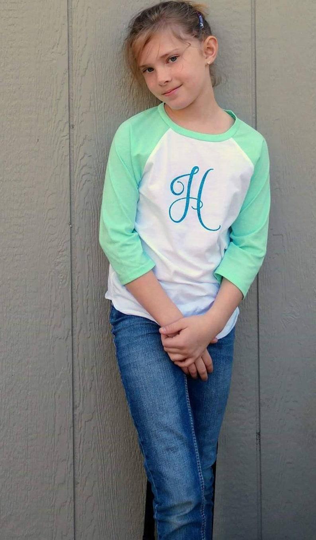shirt Girls Boys Unisex Infant Toddler Monogrammed Raglan Spring top Monograms quarter sleeves or short sleeves
