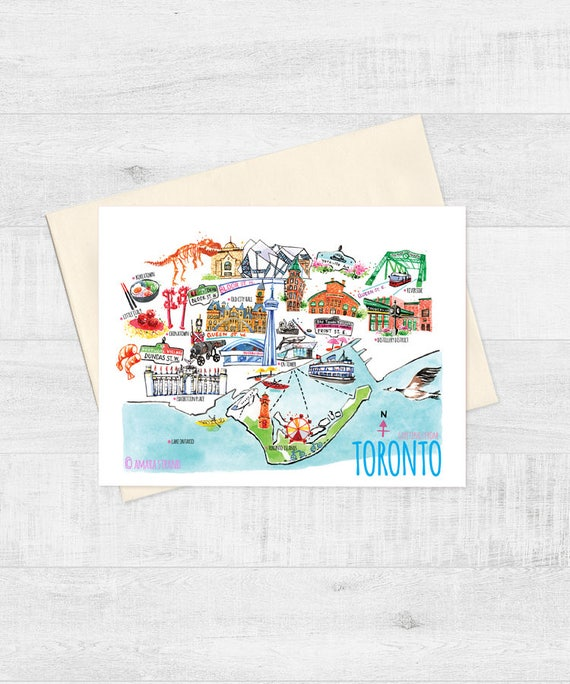 5x7 toronto map greeting card canada day blank m4hsunfo