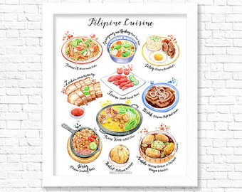 Filipino Cuisine/ Fine Art Print/ Food Poster/ Kitchen Wall Art/ Kitchen Decor/ Gift for Foodies/ Gift for a foodie