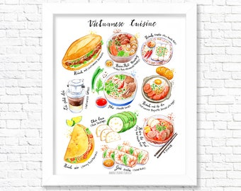 Vietnamese Cuisine/ Fine Art Print/ Kitchen Wall Art/ Food Poster/ Watercolor Food Print/ Gift for a Foodie