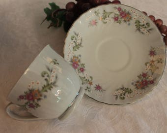 Set of 12 Antique Minton Fine China 6.25 Bread or Dessert Plates Bright Spring Floral Swags with Yellow Rim B806 Circa 1905