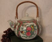 Vintage Chinese Famille Rose Medallion Porcelain Teapot with Wicker Handle - SIGNED
