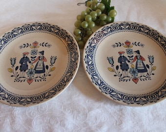 """Set of 2 Johnson Brothers Staffordshire 10"""" Dinner Plates - Hearts & Flowers Pattern"""