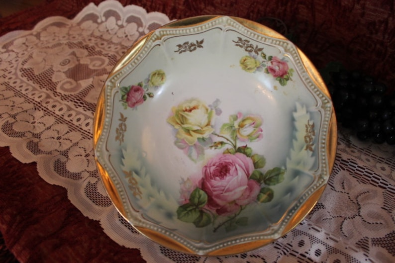 Antique Victorian Serving Bowl with Pink and Yellow Roses and Gold Gilded Rim