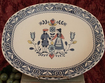 """Johnson Brothers Staffordshire 12.25"""" Oval Serving Platter - Hearts & Flowers Pattern"""