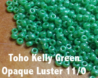 Seed beads - Opaque Luster Kelly Green Toho - size 11