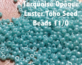 Turqoise Opaque Luster Toho Seed Beads 11/0