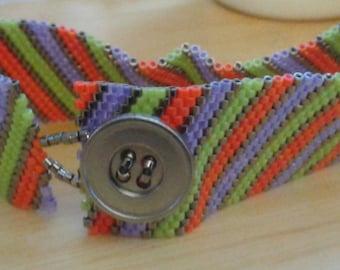 Bright Summer Striped Peyote Stitch Bracelet