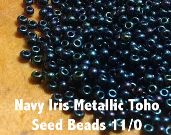 Navy Iris Metallic Toho Seed Beads 11/0