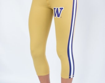 Washington Huskies NCAA Women's Yoga Capri Pant Leggings (Gold)