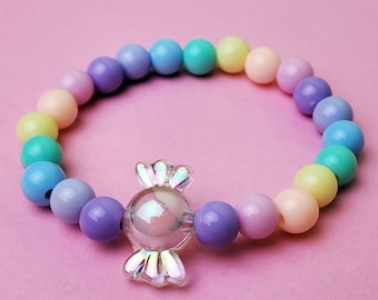Purple Pink Green Not Candy Handmade Candy Elastic  Adjustable Bracelet in Pastel Blue and Yellow Paper Beads Childhood Favorite