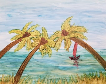 Original painting of Sailboat and Palm Trees