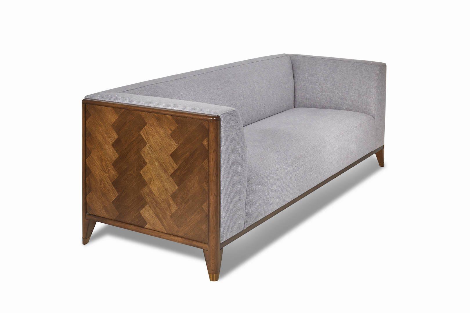 walnut mid century sofa 3 seater wood frame sofa mid century sofa bella collection ekais - Wood Frame Sofa