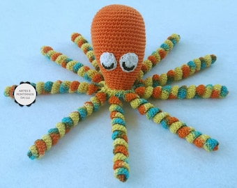 Orange octopus on crochet