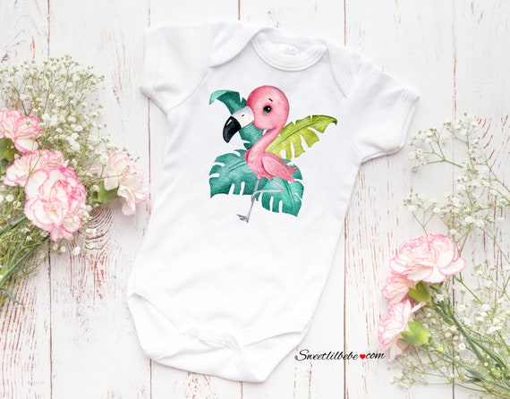 5 PIECE FLAMINGO BABY GIRL SET BABY SHOWER GIFT CLOTHES ROMPER OUTFIT SET PINK