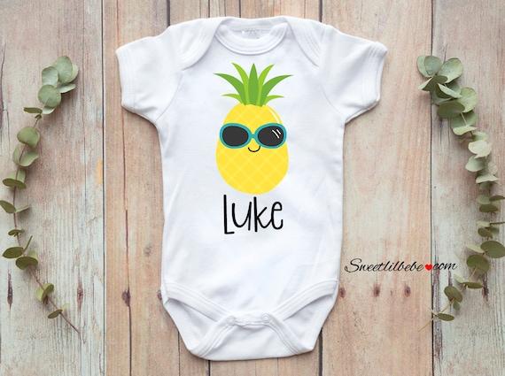 Pineapple Baby Grow Tropical Fruit Newborn Bodysuit Present Gold Gift Shower New