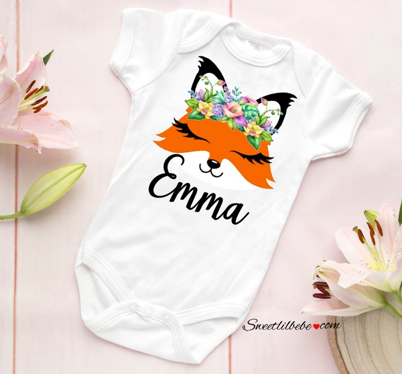 7789b1f95 Fox Baby Onesie® Personalized Baby Onesie Baby Girl Clothes | Etsy
