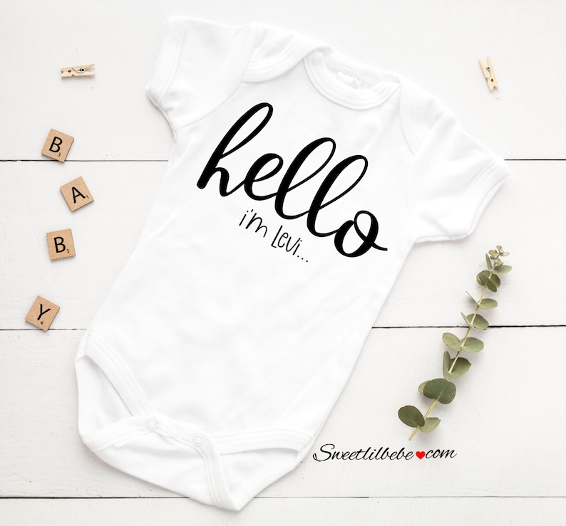 Hello Baby Onesie\u00ae Baby Shower Gift Personalized Baby Gift Newborn Outfit Coming Home Outfit Personalized Onesie Hello Baby Bodysuit