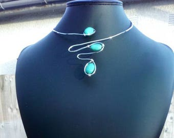 Green Aventurine & Rhodium Plated Wire Classic Choker, Ring and Earrings Set (Fully Adjustable)