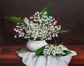 Flower painting etsy lilies of the valley flower painting oil on canvas hand paint artwork white flower original floral art still life realism ready to hang mightylinksfo