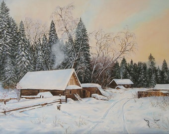 Nature painting, Winter painting oil on canvas Winter landscape Original Artwork Forest oil painting Sky art winter scenery Village painting