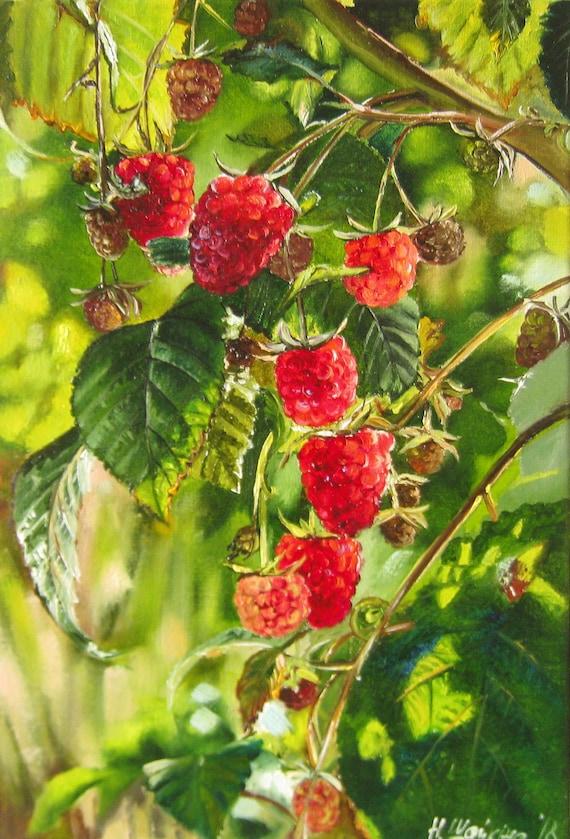 Raspberry Original Oil Paintings On Canvas Fruit Kitchen Etsy