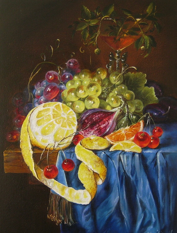 Still Life Fruits Original Oil Painting On Canvas Dutch Still Life Country Paintings For Kitchen Wall Decor Wine Grapes Lemons Painting