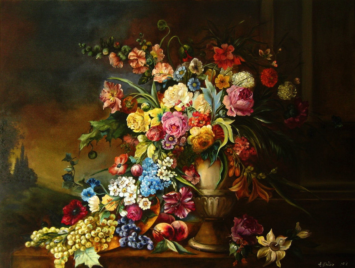 Dark Floral Painting Original Oil On Canvas Large Flowers Etsy