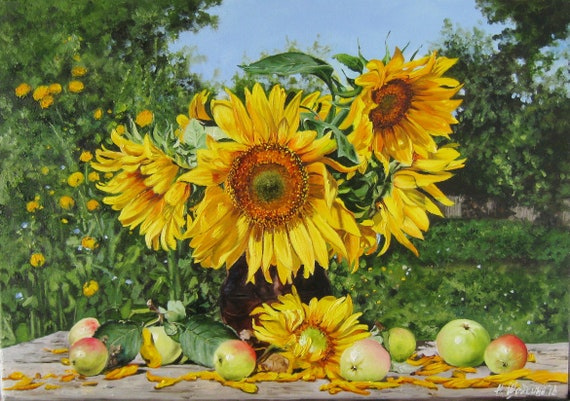 Bouquet Sposa Pendente.Sunflower Painting Bouquet Of Sunflowers Painting Yellow Etsy