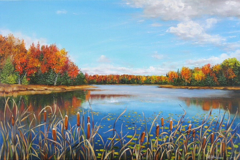 Autumn Nature Oil Painting Nature Wall Art Colorful Painting On Canvas Vibrant Landscape Large Painting Art Original River In Autumn Colors