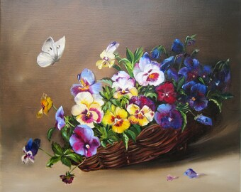 Pansies floral oil paintings Original oil painting Handmade art , traditional wall art Oil Paintings on Canvas small canvas, christmas gift