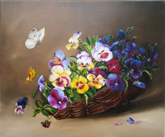 Pansies Floral Oil Paintings Original Oil Painting Handmade Art Traditional Wall Art Oil Paintings On Canvas Small Canvas Christmas Gift