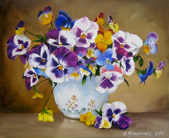Pansies Flowers Original Oil Painting On Canvas One Of A Etsy