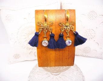 Tassels and Crystal butterfly earrings