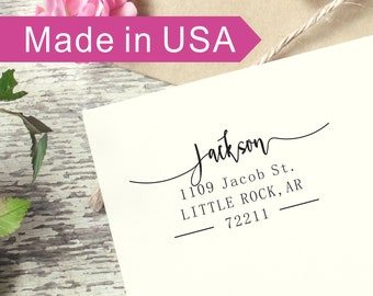 Custom Return Address Stamp, Calligraphy Address Stamp, Housewarming Gift, Client Gift, Family Address Stamp, New Home gifts, AD002