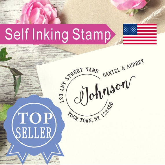 Personalized Self-inking Wedding Stamp Handwriting last name Family Gift AS134