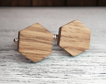 Wooden Cufflinks, Hexagon cufflinks, gift for Groomsmen, 5th Wedding Anniversary Present, Groomsmen cufflinks, Man gift, Wood cufflinks, oak