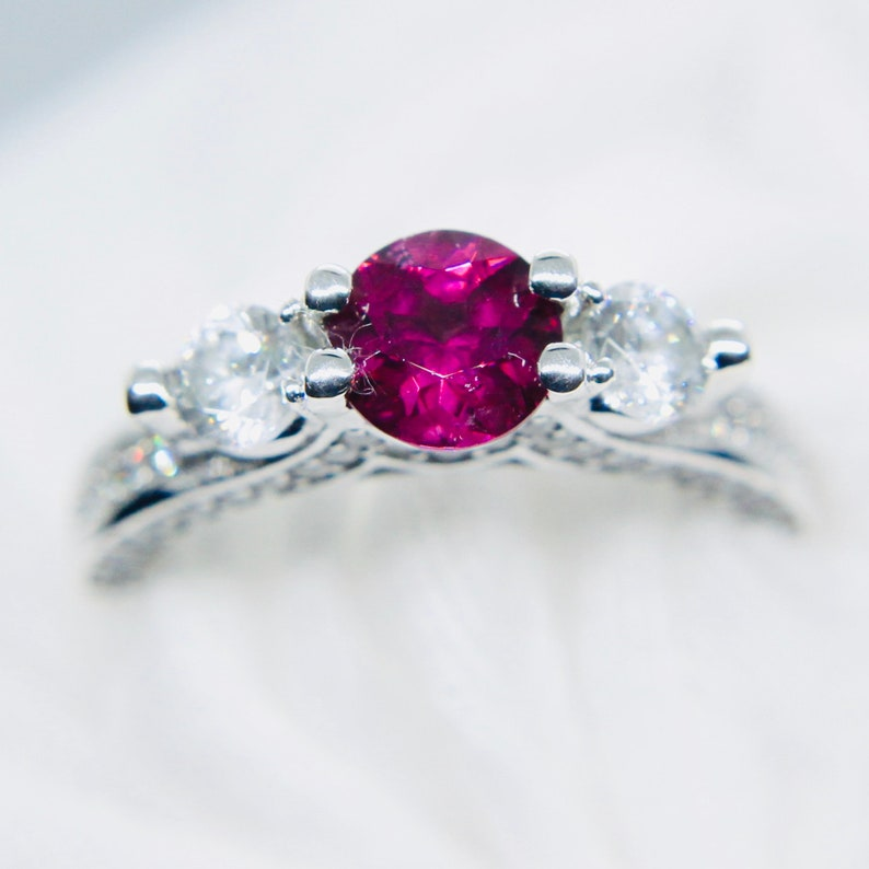 Sterling Silver Ring With Natural Pinkish Purple Garnet 6mm Round Cut 5-6-7 US
