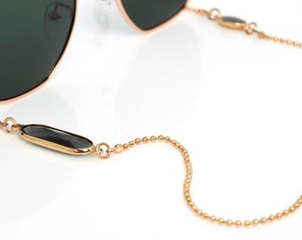 Sunglass Chain | Sunglass Holder in Gold Plated with Crystal Stone | Glasses Strap