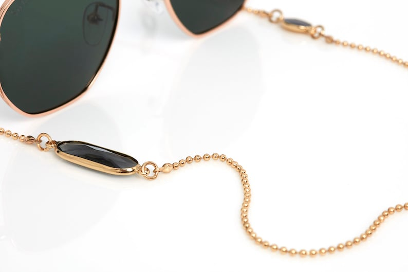 Sunglass Chain  Sunglass Holder in Gold Plated with Crystal image 0