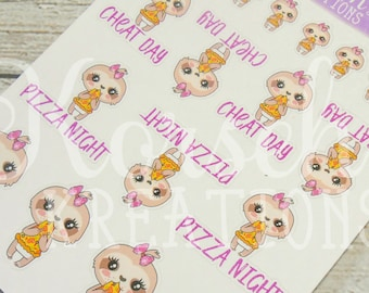 Coco the Sloth Loves Pizza Night - Sloth Stickers - Sloth Activities - Activity Stickers - Pizza Stickers - Pizza Night Stickers - Stickers