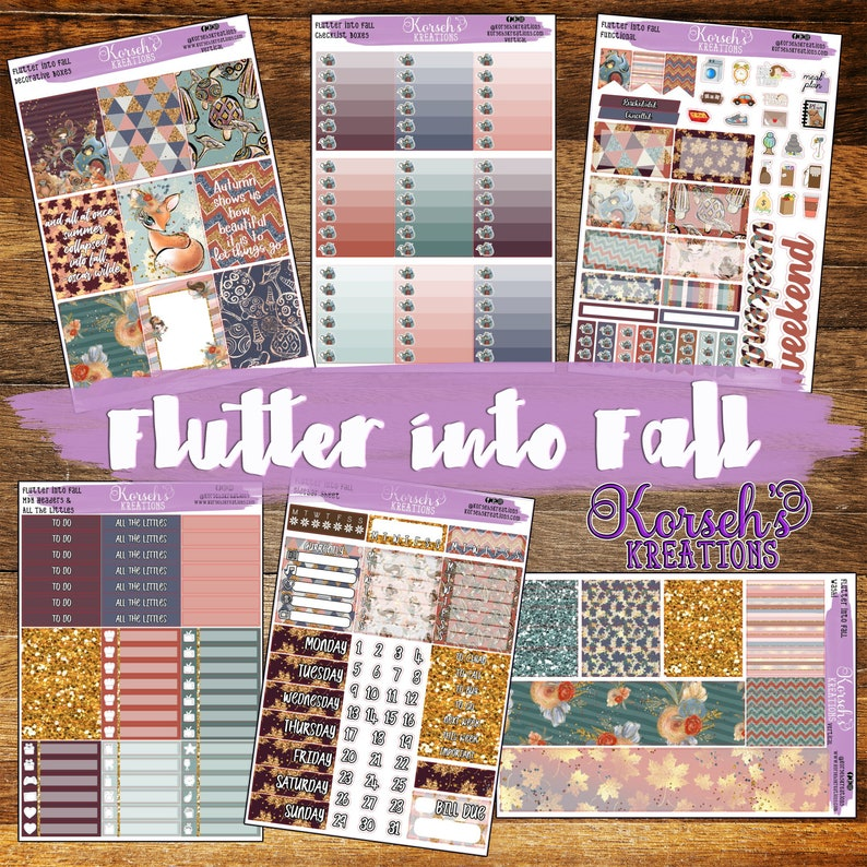 Flutter Into Fall - Full Kit - Autumn Stickers - Life Planner - Theme  Stickers - Pick your Planner - Fall - Fairy - Autumn - Fall Stickers
