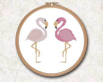 Two Standing Pink Flamingo Flamingos Counted Cross Stitch Pattern - PDF Digital Download