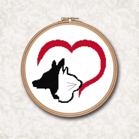 Perro y gato corazón silueta negra y roja contaron a patrón de   Etsy
